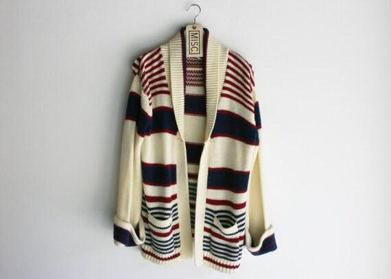 Vintage Red White & Blue Shawl Collar Oversized Cardigan Sweater