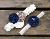 Bridal Garter Set Rosette Navy Blue Champagne Cream