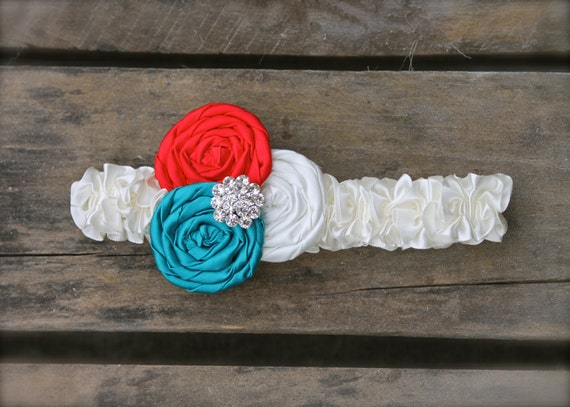 Bridal Garter Red Teal Cream