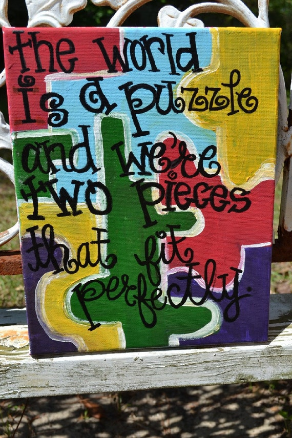 CLearance SALE- Puzzle Painting with Love Quote on 8x10 Canvas