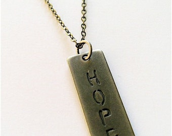 HOPE-Men/Unisex Steampunk Metal Necklace with Antique Brass Chain and Antique Brass Barrel Clasp