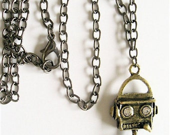 TANAKA the ROBOT Necklace- Raw Brass and Gun Metal - Steampunk Inspired