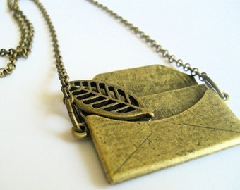 Raw Brass Steampunk LOVE LETTER Necklace
