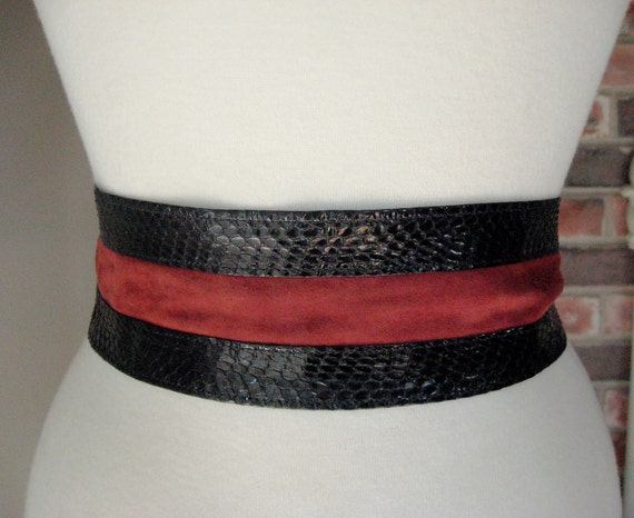 Vintage 80s Croc Patent Leather Suede Belt