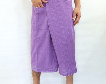 100% strip cotton thai fishermanpants handmade by my mum short 3/4 legs style 034S