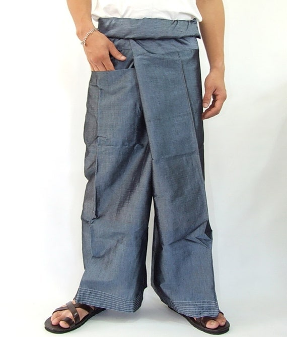 Simulate thai silk fisherman pants handmade by my mom long legs style 044Si