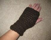 Chocolate Brown Fingerless Gloves Wristwarmers