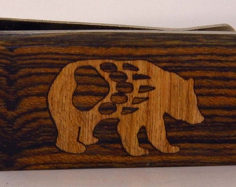Exotic wood Money clip with Cherry wood Bear with Paw Inlay.