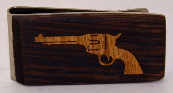 Exotic wood Money clip with Cherry wood Pistol inlay