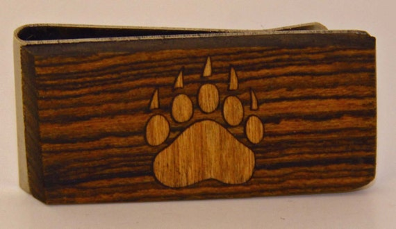Exotic wood Money clip with Cherry wood Bear Paw inlay.