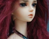 "10in"" Long Dark Red Mohair Wavy Wig for Volks BJD SD Dolls"
