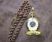 Brass Mechanical Pocketwatch with Custom Chain