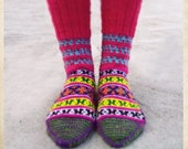 Handknitted socks from the Himalayas - Grrly pink on top (with blue zigzags)