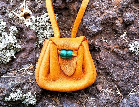 Light Brown/Orange Round Medicine Pouch - Tiny Size