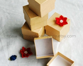 20 pcs 2x2x2 Natural Kraft Cotton Filled Jewerly Boxes -- perfect for gifts