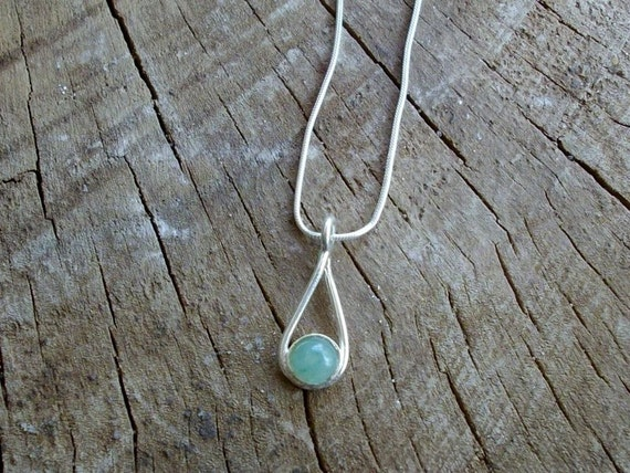 925 Silver necklace drop with green Aventurine stone