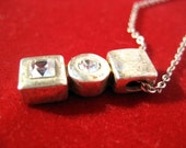 Vintage silver color necklace geometric shape charm with round and square sparkling rhinestones Code X27
