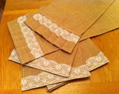 Burlap Ruffles Lace Table Runner & Placemat SET - Modern Country n Shabby Chic SALE