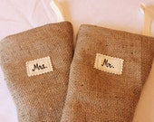 SALE - 2 Burlap Stockings - MR. and MRS. - Rustic Shabby Chic - Ecofriendly Christmas - Discounted Sale
