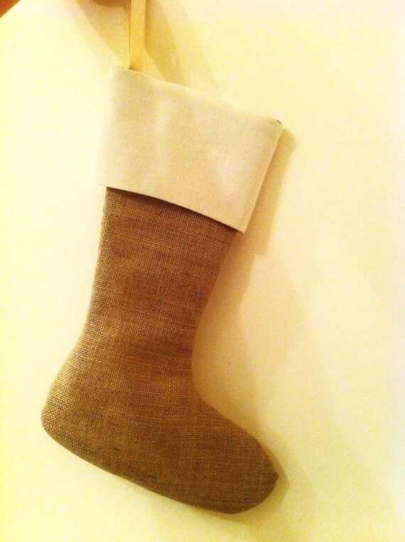 5 Burlap Stockings with Muslin Cuff - Ecofriendly Christmas - Perfect for everyone in the family