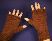 Fingerless Mittens - COZY - Knit in Chocolate Brown unisex ribbed