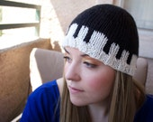 Beanie with Piano Key Detail - SHUBERT ALLEY - Hand Knit