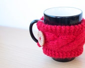 Coffee Cup Cozy Cable Knit with Button