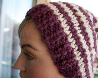 Bold stripe Slouchy Cap Chunky Knit