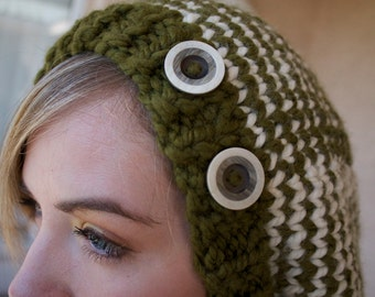 Striped Slouchy Cap with Buttons - WOOSAH - Chunky knit