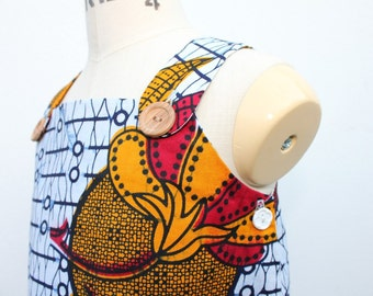 African Print girl's pinafore dress