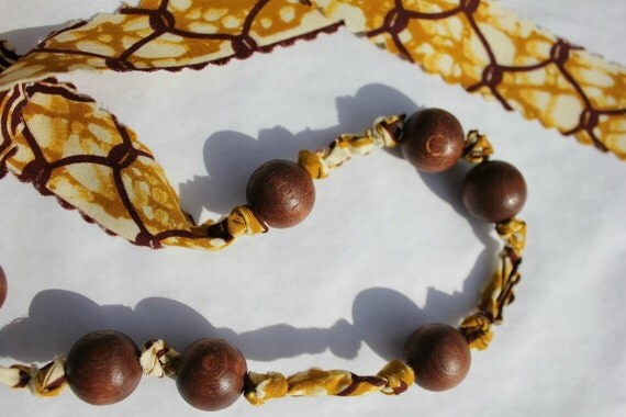 Super funky African wax print fabric knotted wooden bead necklace