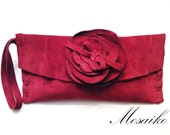 Deep red suede-Leather Clutch- handmade-mother's day