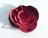 Red leather flower brooch - Leather flower pin - red rose pin - approx. 5 inches