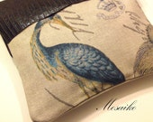 "Large Linen & Leather Clutch -10.5"" x 10.5"" Blue Heron Print on linen fabric and italian brown leather"