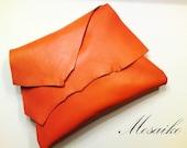 "Halloween wedding-Tangerine orange leather clutch - 8.5"" x 10.5"""