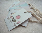 Bird and Flower Gift Tags Set of Five