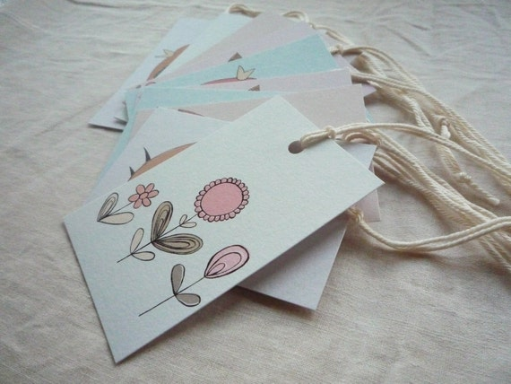 Cute Bird & Flower Gift Tags, Illustrated Art Designs, Blue Green Pink, pack of 10