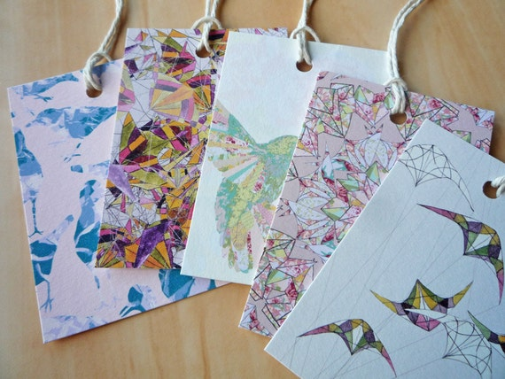 Patterns & Birds gift tags, Illustrated Art Designs, Blue Peach Pink Black, pack of 10