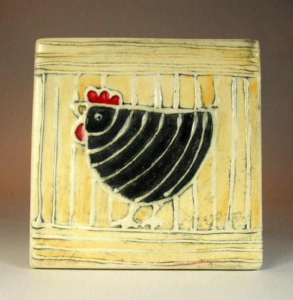 Tile black hen 4''x 4''