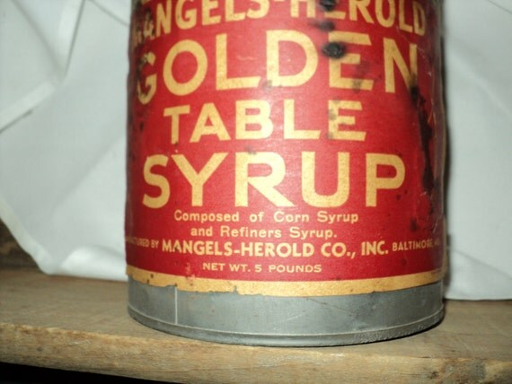 Vintage:  Mangels-Herold Syrup Tin, Early 1900's,