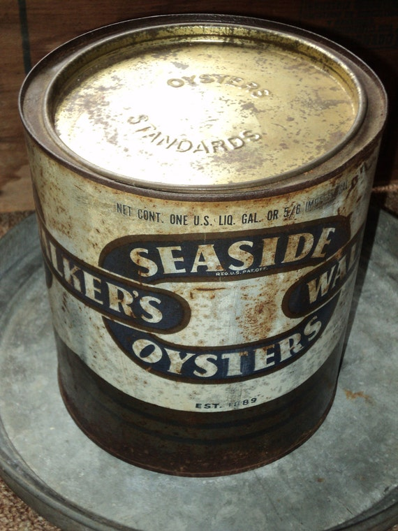 Vintage: Walkers Seaside Gallon Oyster Can