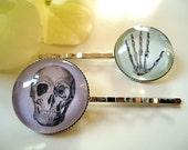 ON SALE - Skull and Hand Bones Vintage kitsch Bobby Pins