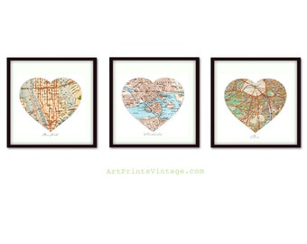 3 Personalized Map Art, Heart Map Prints, Custom Wedding Gift, Anniversary Gift, Custom Map Art