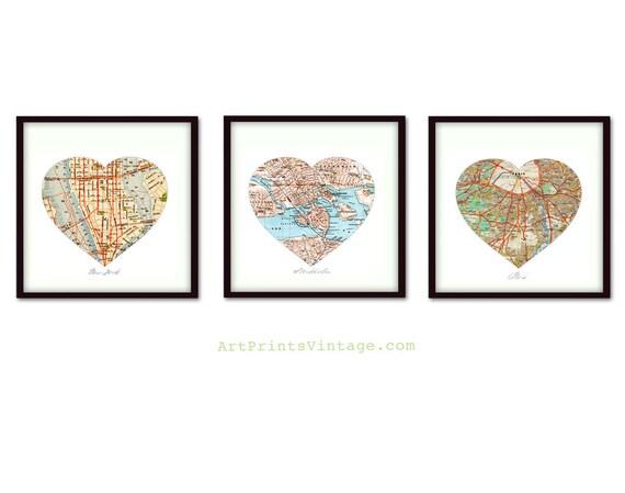 3 Personalized Map Art, Heart Map Prints, Custom Wedding Gift, Anniversary Gift, Custom Map Art