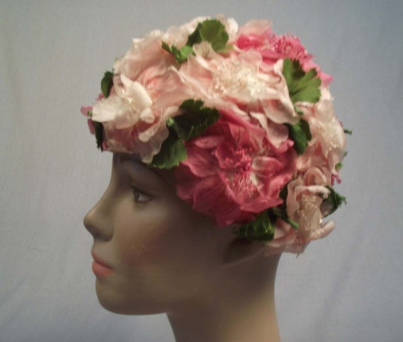 Vintage La Rose  Floral Hot Pink Hat Close Fitting Fun and Funky
