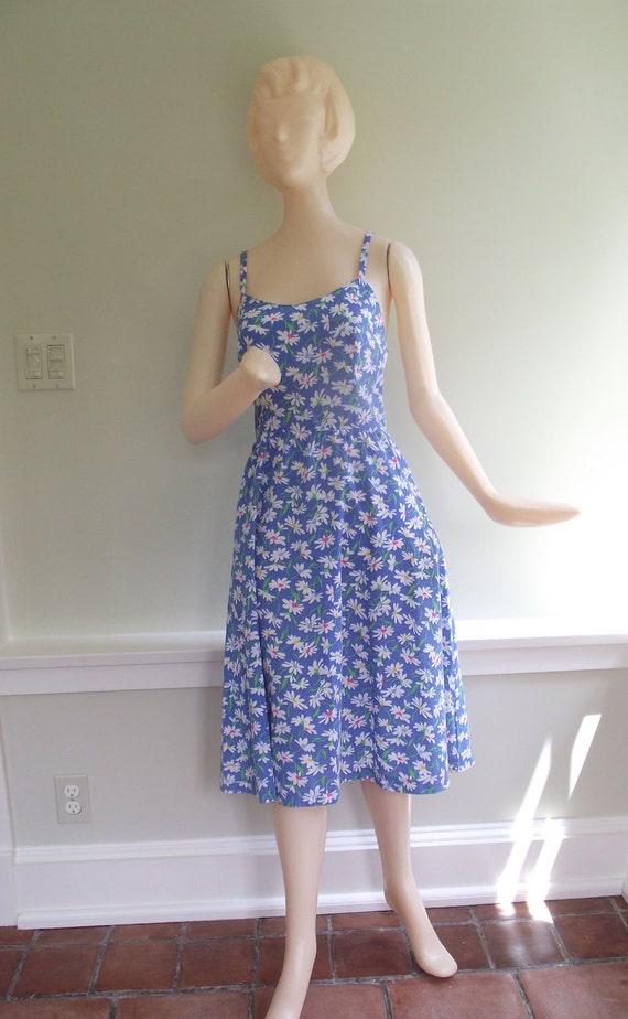 Vintage 70s 80s Bright Blue with White Flowers Cotton Sundress Lanz Size Medium