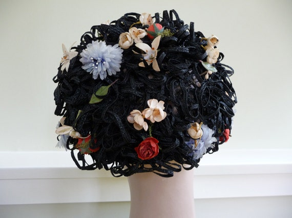 Vintage 50s 60s Flower Party Hat Straw black Church going Jean Atkins reserved for CALLMETIGER