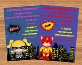 Superhero boy girl birthday invitation and matching thank you card...DIY you print custom photo card by delightfulprints