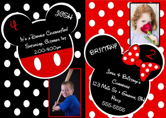 Baby Shower Invitations Mickey And Minnie ~ Items similar to mickey and minnie mouse inspired birthday