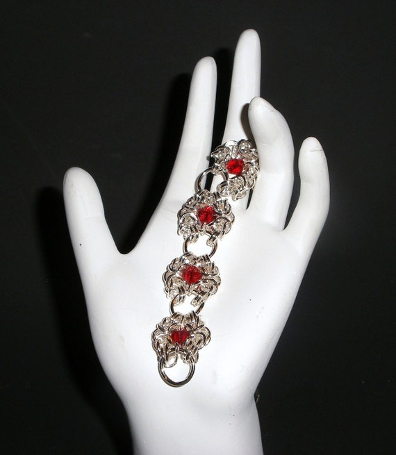 Sterling silver Romonov  byzantine chain maille bracelet in red (008)